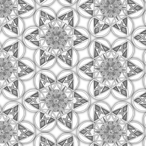 large snowflake hexagons in greyscale
