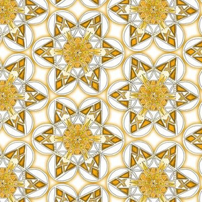 large snowflake hexagons in gold