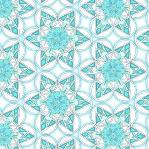 large snowflake hexagons in aqua