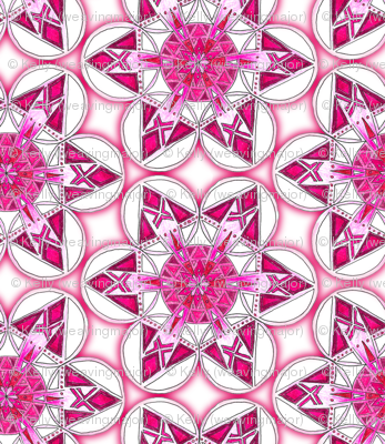 large snowflake hexagons in magenta