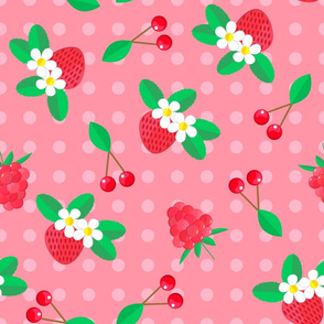 Pattern with strawberries and cherries.
