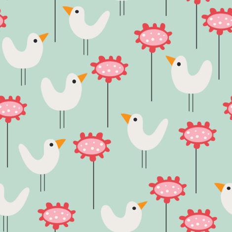 Birds in the garden on green fabric by kaicopenhagen on Spoonflower - custom fabric