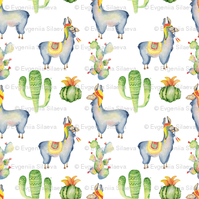 Watercolor llamas and cactus