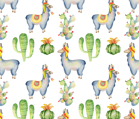 Watercolor llamas and cactus fabric by evgeniiasart on Spoonflower - custom fabric