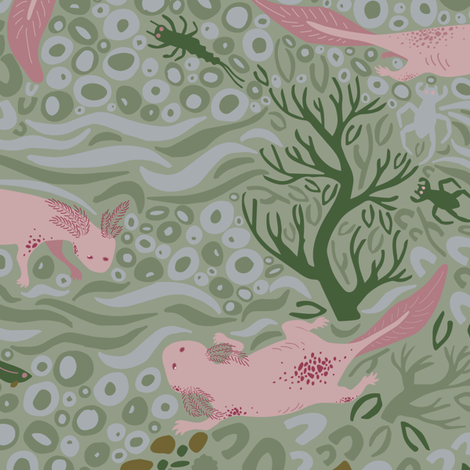 Adorable Axolotls Green fabric by harrietharkerdesigns on Spoonflower - custom fabric