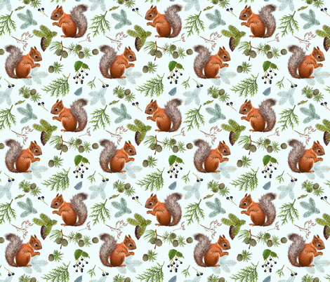 Branches and squirell fabric by purple-bird on Spoonflower - custom fabric