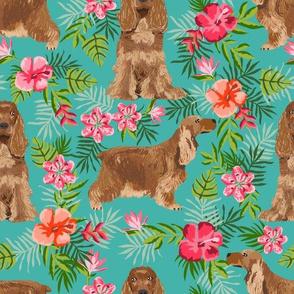 Cocker Spaniel (Large Scale) hawaiian fabric turquoise