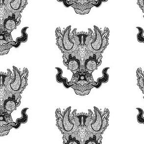Cosmic Space Dragon Pattern - Black on White
