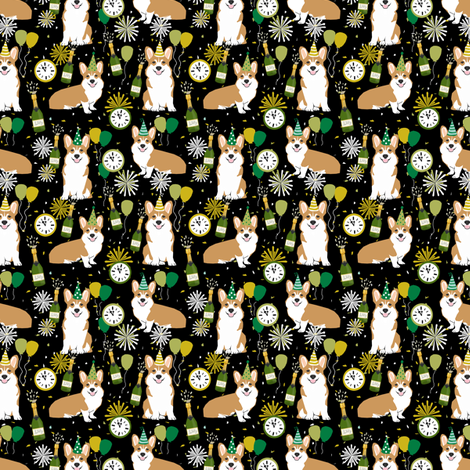 corgi (small scale) new years eve dog breed party fabric dark fabric by petfriendly on Spoonflower - custom fabric