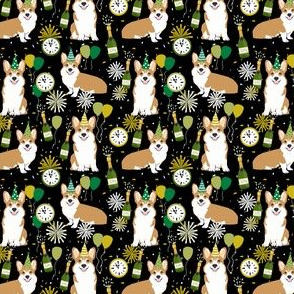 corgi (small scale) new years eve dog breed party fabric dark