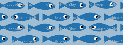 Little fish on blue
