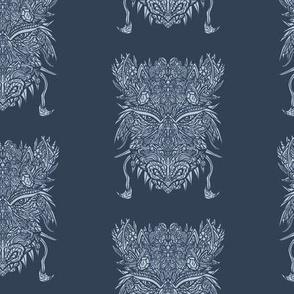 Dark Blue Dragon Pattern