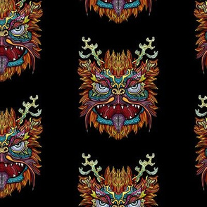 Colorful Chinese Lion Dragon Pattern
