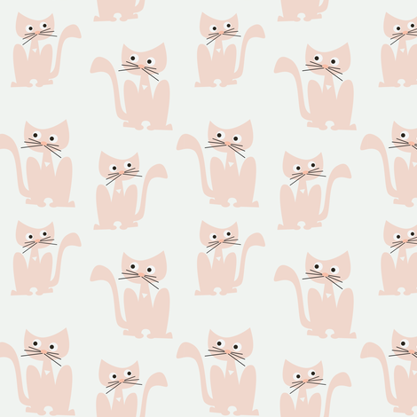 Pink cats on white fabric by kaicopenhagen on Spoonflower - custom fabric