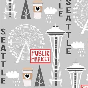 seattle tourist washington state vacation space needle america fabric grey