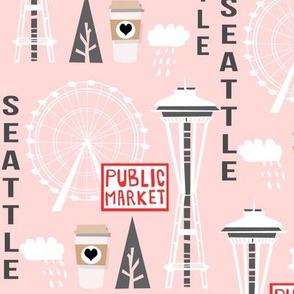 seattle tourist washington state vacation space needle america fabric pink