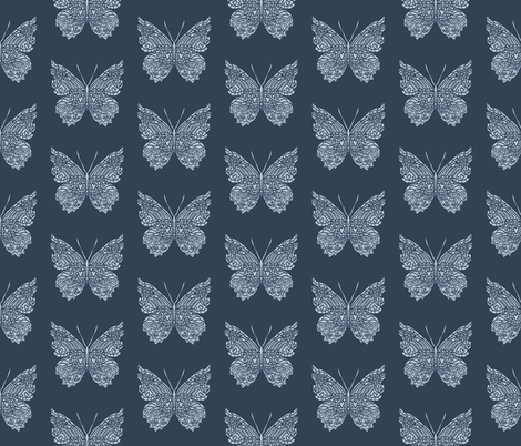 Navy Butterfly Pattern fabric by antonybriggs on Spoonflower - custom fabric