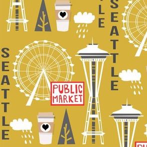 seattle tourist washington state vacation space needle america fabric yellow