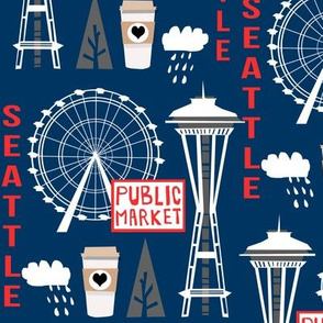 seattle tourist washington state vacation space needle america fabric navy