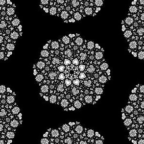 Black and White - Heart Flower and Butterfly Mandala