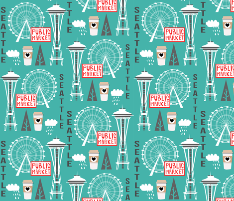 seattle tourist washington state vacation space needle america fabric teal fabric by charlottewinter on Spoonflower - custom fabric