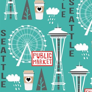 seattle tourist washington state vacation space needle america fabric teal