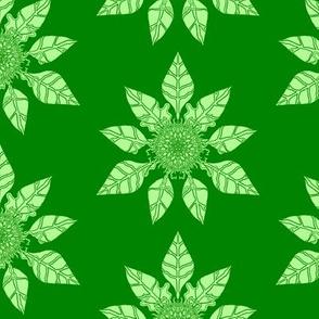 Green Leaf Mandala Pattern