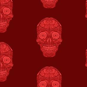 Red Brain Sugar Skull Pattern