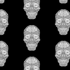 Black Brain Sugar Skull Pattern