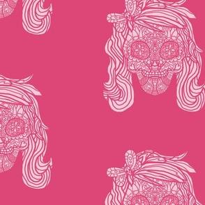 Female Sugar Skull - Pink Pattern