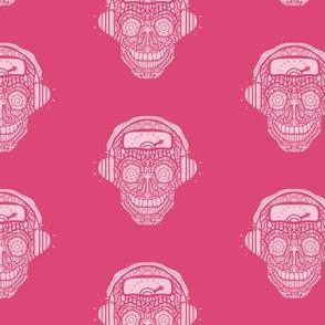 Headphone Music Sugar Skull Pattern