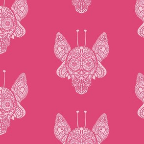 Pink Butterfly Sugar Skull
