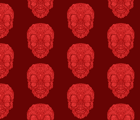 Dark Red Buttefly Sugar Skull fabric by antonybriggs on Spoonflower - custom fabric