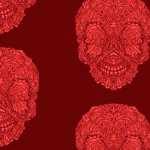 Dark Red Buttefly Sugar Skull