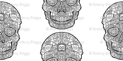 Robot Sugar Skull Pattern