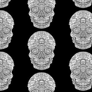 Robot Sugar Skull  Pattern - White on Black
