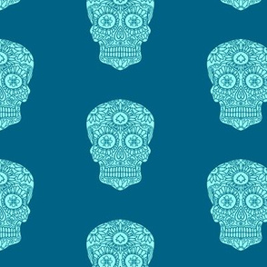 Blue Sugar Skull Pattern