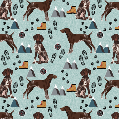 german shorthair pointer hiking dog breed fabric bluish fabric by petfriendly on Spoonflower - custom fabric