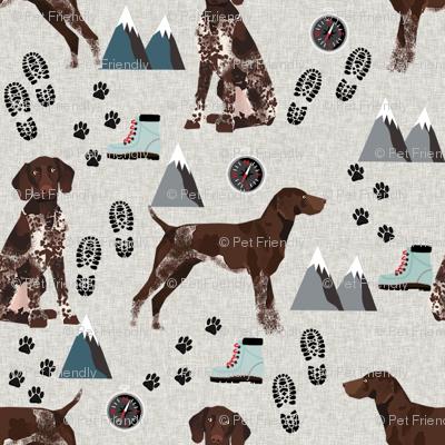 german shorthair pointer hiking dog breed fabric grey