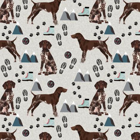 german shorthair pointer hiking dog breed fabric grey fabric by petfriendly on Spoonflower - custom fabric