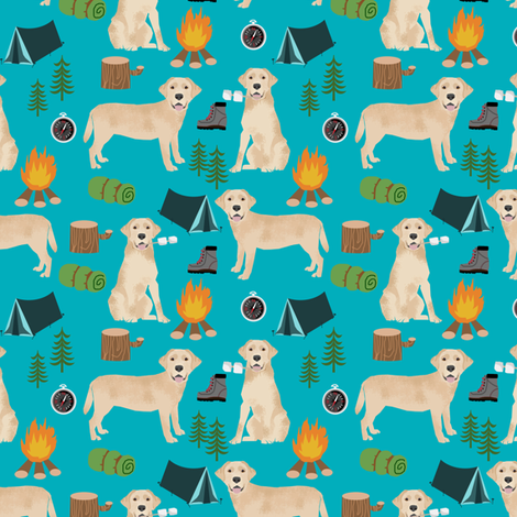 lab yellow camping dog breed fabric turquoise fabric by petfriendly on Spoonflower - custom fabric