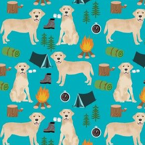 lab yellow camping dog breed fabric turquoise