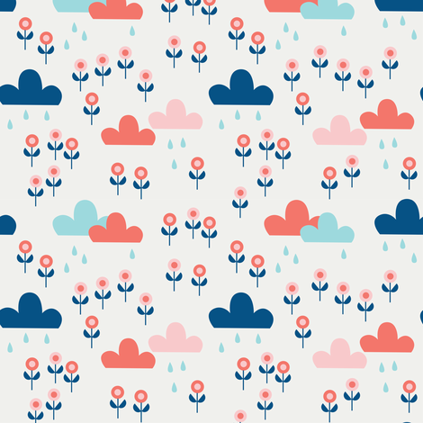 Good summer rain - White fabric by kaicopenhagen on Spoonflower - custom fabric