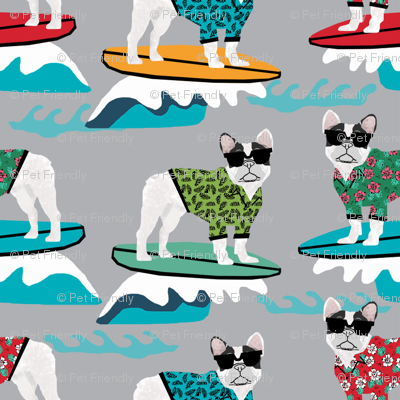 french bulldog surfing dog breed fabric grey