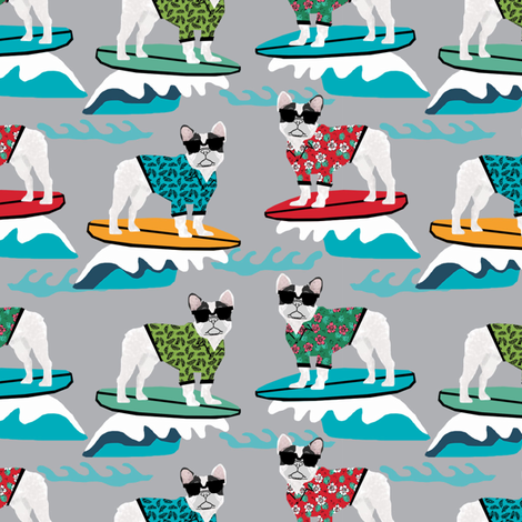 french bulldog surfing dog breed fabric grey fabric by petfriendly on Spoonflower - custom fabric