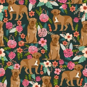 french mastiff floral dog breed fabric dark