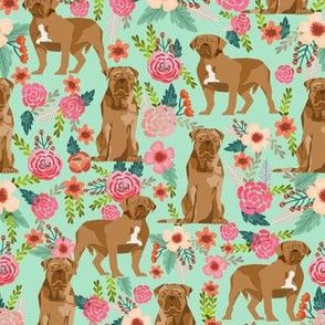 french mastiff floral dog breed fabric mint