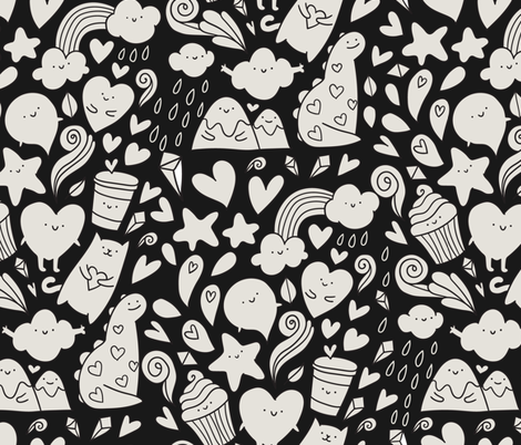 Adorable kawaii friends. Funny doodles mountains dinos and cat fabric by kostolom3000 on Spoonflower - custom fabric