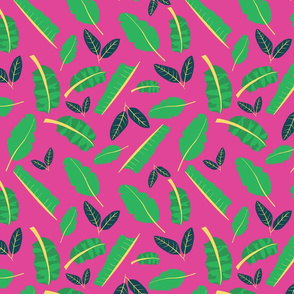 Tropical Toucan Leaves Pink