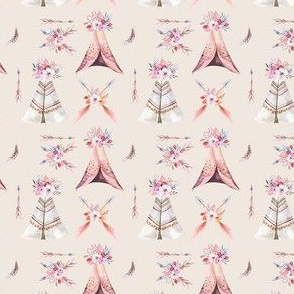 Watercolor  bohemian teepee  organic design